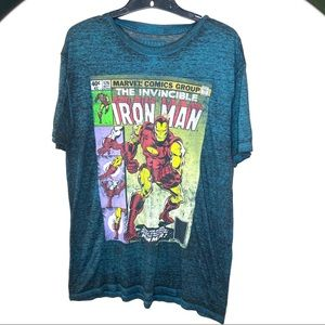 Iron Man Burnout Comic Book Tee Size L